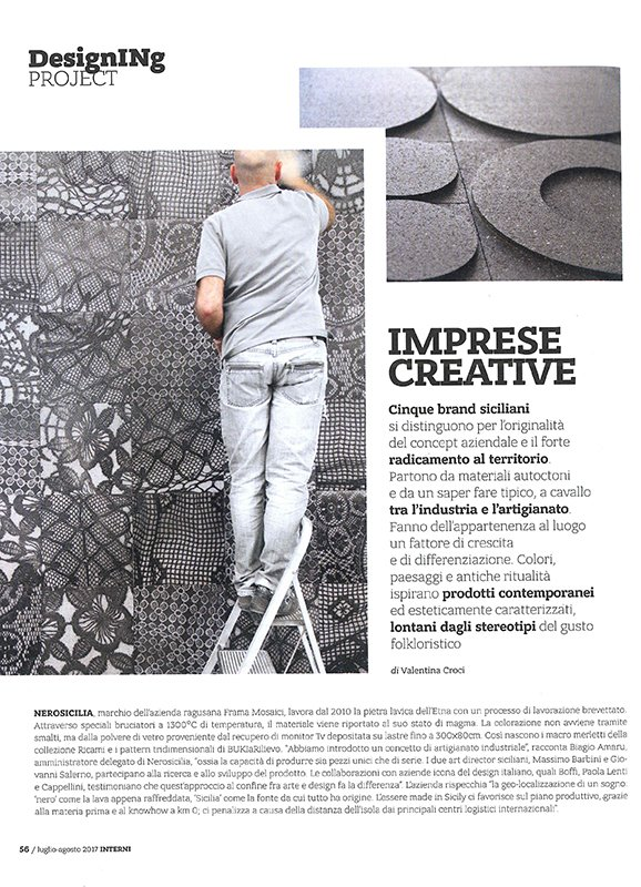 Nerosicilia tra i brand siciliani più innovativi, magazine Interni